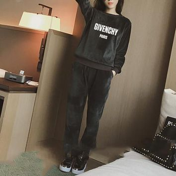 """Givenchy"" Women Casual Fashion Gold Velvet Letter Long Sleeve Sweater Trousers Set Two-Piece Sportswear"
