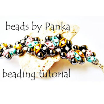 Sale- 50 %. Beading bracelet tutorial. Beading pattern. How make to jewelry tutorial. Pdf file, pfd instruction.
