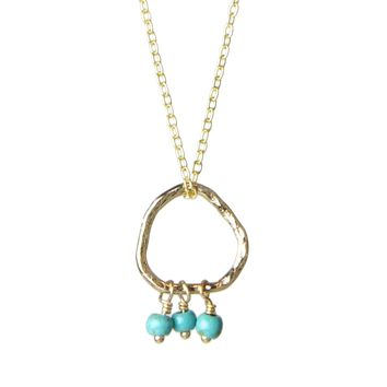 "Bead Trio and Circle ""Three Wishes"" Gold Necklace- 4 colors"