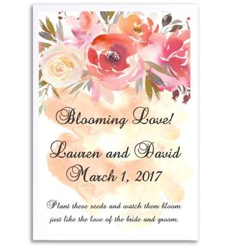 8 Peach Floral Wedding Seed Favors
