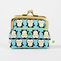 Deep mum  Kawaii penguins on blue  metal frame purse by octopurse