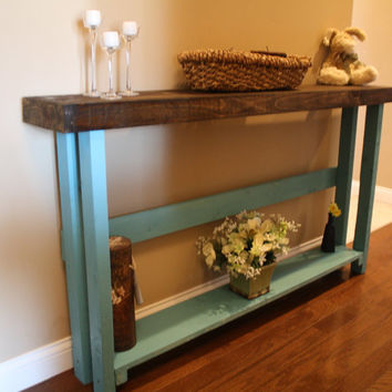 Beautiful Dark Walnut Stained Blue Painted 5-Foot SOFA Table W/Bottom Shelf Custom Made Sizes To Order Different Colors Upon Request