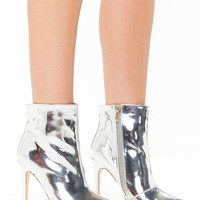 Zara Silver Metallic Stiletto Ankle Boots