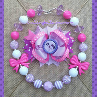 Twilight Sparkle My Little Pony Hair Bow - My Little Pony Bow - My Little Pony Birthday - Purple Pony - Over the Top Layered Bow - Necklace