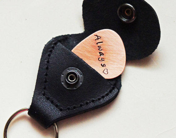Personalized Guitar Pick Holder Keychain - Custom Copper Guitar Pick with Leather Storage Keychain