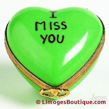 Heart: *I Miss You* Green Limoges Boxes