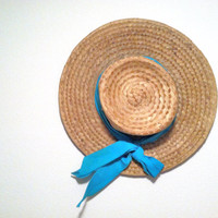 1960s Boater Hat / Light Brown Straw Sun Hat  with blue fabric band / 60s Cartwheel Hat