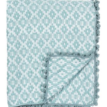 "Nordstrom Rack | Diamond Jacquard Pompom Trim Throw - 58""x50"" 