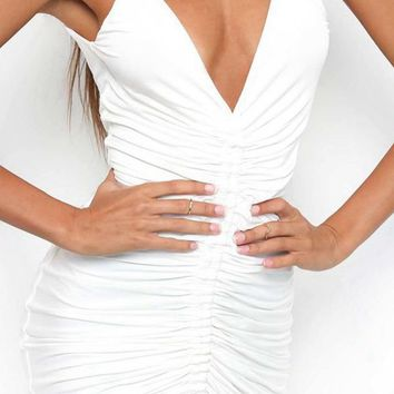 Fantasy Land Sleeveless Spaghetti Strap Ruched Plunge V Neck Bodycon Mini Dress - 2 Colors Available