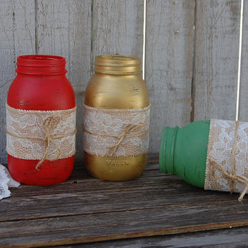 Christmas Mason Jars, Shabby Chic, Red, Green, Gold, Burlap, Lace, Distressed, Rustic, Hand Painted, Embellished