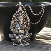 Silver Ganesh Necklace, Ganesh Pendant Hangs from Ball Chain, Lord Ganesh, Hindu Jewelry, Yoga Necklace