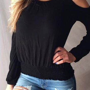 Black Cut Out Pleated Off-Shoulder Long Sleeve Casual T-Shirt