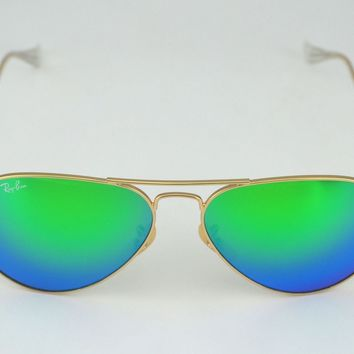 Ray Ban RB3025 Aviator Flash Lenses 112/19 Gold Frame/Green Flash Glass Lenses