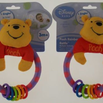 Disney Baby Winnie Pooh Rainbow Rattle Lot 2 Jingle Sound Learning Curve Soft