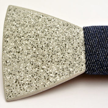 """FATHER'S DAY SALE! Mens bowtie. Exclusive Concrete """"Luna"""" bow tie. Stone bowtie with jeans fabric. Mens gifts. Gift for him! Men birthday."""