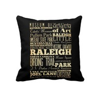 Raleigh City of North Carolina State Typography Throw Pillows