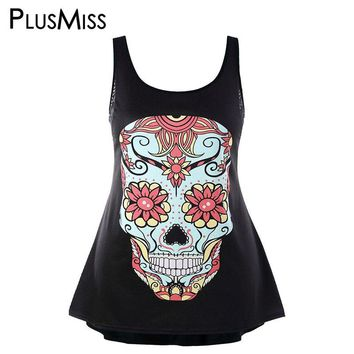 PlusMiss Plus Size 5XL Floral Skull Print Tank Tops Sexy Back Lace Crochet Punk Rock Sleeveless Vest Summer 2018 Women Big Size