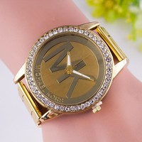 MK Fashion Diamonds Alloy Watch Masonry Watches Business Watches