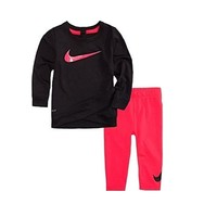 Baby Girl's A Wrap-Style Glittered Swoosh Dri-Fit Tunic & Leggings Set