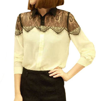 S-XXL Large Size  Fashion Summer Women Lace long Sleeve Chiffon Blouses Shirt Crochet Tops
