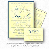 Fancy Simple Wedding Invitation Set.  DIY Printable or Printed Sets. Wedding Invite, RSVP, Enclosure Card or Save the Date. Navy/Yellow/Gray