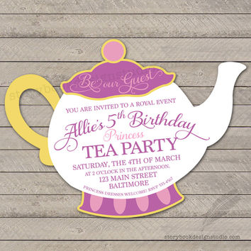 Princess Tea Party Birthday Invitations