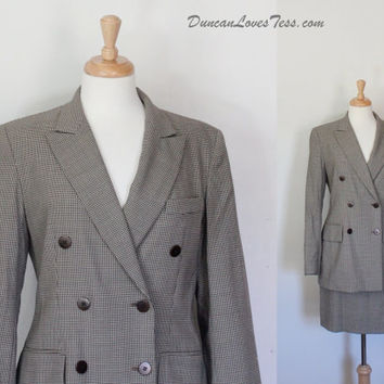 90s Suit / Double Breasted Houndstooth Blazer & Skirt / Taupe Checked Power Suit / Fall Winter / 80s 90s Fashion