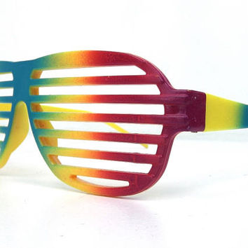 vintage 80s deadstock shutter sunglasses rainbow yellow blue pink bright thick plastic sun glasses cool hip men women vented slat club 166