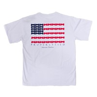 Boy's Short Sleeve Bow Tie Flag Tee in White by Properly Tied