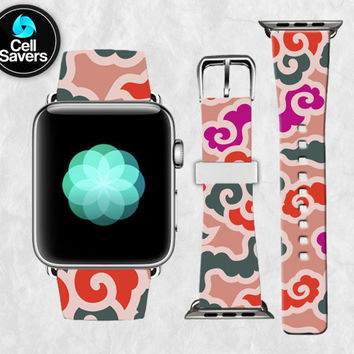 Clouds Line Art Pattern Pink Purple Cute Tumblr New Apple Watch Band Leather Strap iWatch for 42mm and 38mm Size Metal Clasp Watch Print