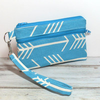 Teal Arrow Wristlet - iPhone Wristlet - Cell Phone Wristlet - Wristlet - Clutch Bag - Wristlet Purse - Clutch Wristlet - Cell Phone Clutch