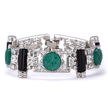Kenneth Jay Lane Art Deco Black Onyx and Jade Bracelet
