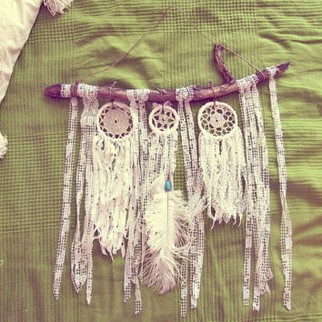 Bohemian Wall Hanging - Boho Driftwood Wall Decor - Gypsy Bedroom Decor - Shabby Chic Dreamcatcher - Hipster Decor -  In Stock