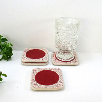 ceramic coasters,ceramic coaster,coasters,tile coasters,coaster,home decor,drink coaster,tile coaster,drink coasters,housewarming gift,red
