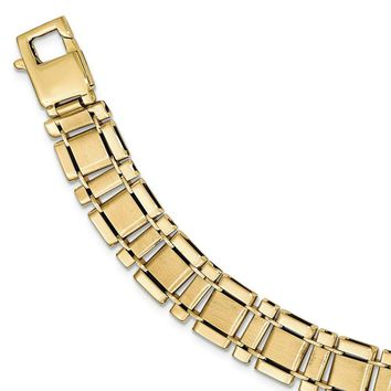 Men's 12mm 14k Yellow Gold Brushed & Polished Link Bracelet, 8.5 Inch