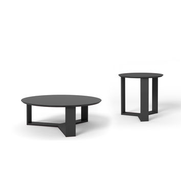 Madison 2-Piece Accent Table Living Room Set in Black Gloss