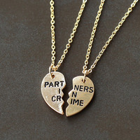 gold PARTNERS IN CRIME necklace, best friends Necklace, broken heart set,  friendship necklace, Christmas gift, best bitches jewelry