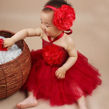 Princess Peony Flower Tutu Dress with Headband Little Girls Fancy Halloween Tutu Dress Costume Baby Photo Props TS043
