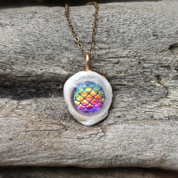Mermaid Necklace - Rainbow Mermaid Jewelry from Hawaii - Mermaid Scales - Dragon Scales - Puka Shell Necklace made in Hawaii Dragon Jewelry