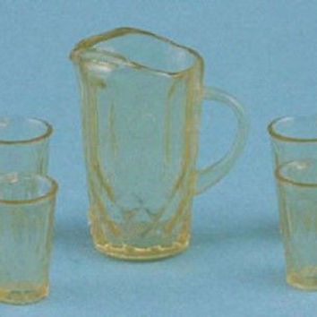 1:12 Scale Pitcher with 4 Glasses, Amber #CHR88A