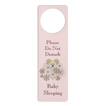Cute Animal Personalized Pink Door Knob Hangers for Baby Girl Room: Baby Shower Gift Idea: Baby Koala