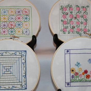 Hand embroidery pattern Mini Floral Quilts by purrfectstitchers