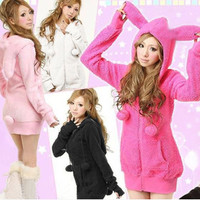 Japanese kawaii bunny hooded coat