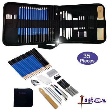 Lasten 35 Pcs Professional Sketching & Drawing Pencils Kit Sketching Pencils Set with Erasers Charcoal Pencils Graphite Pencils Art Supplies Set with Case for Artists Beginners School Students
