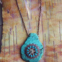 Turquoise Flower Burst Copper Bohemian Necklace Boho Hippie Stone Tribal Copper Native American Inspired
