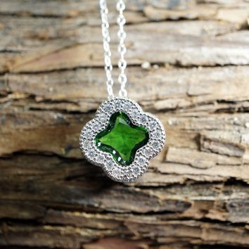 May Birthstone Necklace - Emerald Necklace -Tiny Silver Green CZ Necklace - Green Swarovski Crystal Necklace