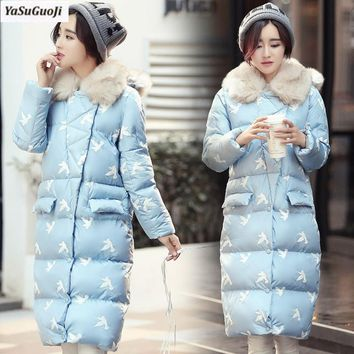 New 2017 winter animated pigeon print single breasted fur collar and hooded women coat thicken cotton padded long jacket MF10