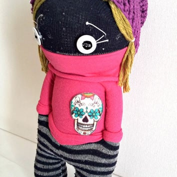 Sock Doll with crochet hat, fabric doll, Eco-doll, Skull Doll  recycle, hip-hop doll, cloth doll, (OOAK)