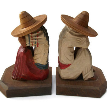 Mexican Bookends Hand Carved Painted Wooden - Wood Man Woman in Sombreros Taking Siesta - Vintage Mexico Souvenir Decor Kitsch Folk Art