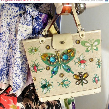 ON SALE Enid Collins Bag Canvas Leather Trim Jeweled Printed 60s Glitter Bugs Print Butterfly Floral Resort Purse - TREASURY Item - Free Shi